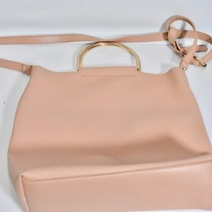 Gorgeous Leather Shoulder Bag in bBlush Pink